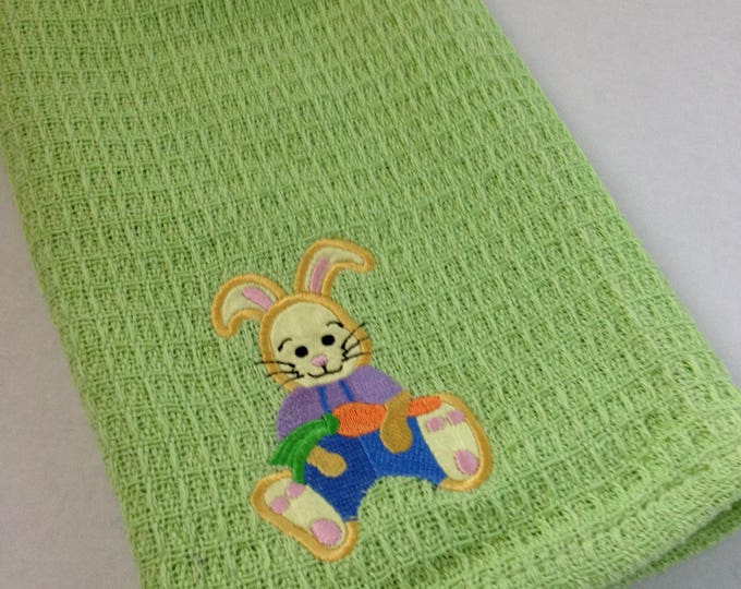 Bunny Towel -  Crochet Top - Kitchen Towel - Easter Towel - Green - Handmade Crochet - Ready to Ship