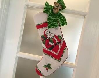 Santa Christmas Stocking Handmade Vintage Mid-century Linen Retro 1950s