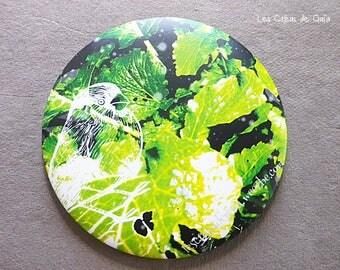Purse mirror • Bird on cabbage, green • design exclusive photography