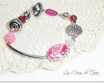 Flower tattoo photography • Metal and glass cabochon bracelet, graphic design • exclusive ETSY