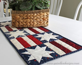 Quilted Table Runner, Table Runner, Americana Quilted Table Runner, Quilted Patchwork Table Runner, Quilted Table Topper