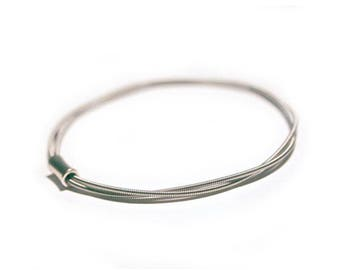 Guitar String Bangle | Silver toned bracelet | Music Gift | Guitar Jewellery