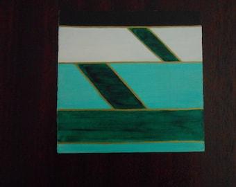 Green #1, Mini Geo Acrylic Painting, 6x6, Unframed