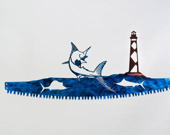 Blue Marlin w/ Cape Lookout Lighthouse  in Crosscut Saw Blade Indoor or Outdoor Metal Wall Art