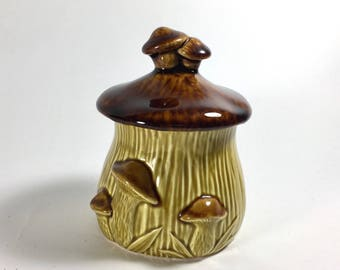 Vintage Mushroom Sugar Dish, Brown and Green, Ceramic, Woodland, 1970s