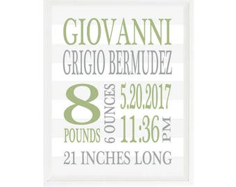 Birth Stat Print, Baby Boy Nursery,  Birth Announcement, Personalized Birth Stats, Green, Gray, Baby Boy Gift, Custom Baby Gift, Boy Art