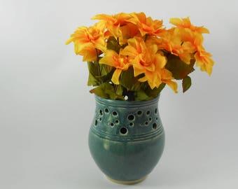 Pierced blue vase -  blue pottery vase - blue ceramic vase - flower vase - V171