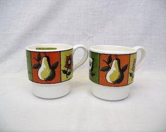 2 Holt Howard coffee cups Early American mugs 1964 vintage set