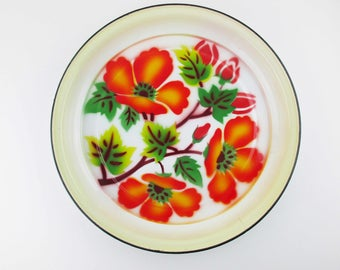 Brightly Painted Enamelware Tray -  Bright Orange Poppies - Airbrushed Color - Deep Tray - 1930s With Black Edge Trim - Multi-purpose Tray