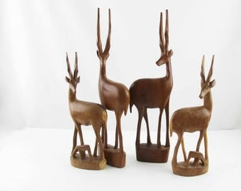 Four Tall Wood Gazelle -  Family of Gazelle - Great Decor - Wood - Heavy Texture - Mix and Match With Glass and Brass - Great Style