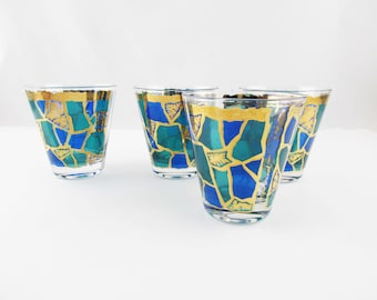 Four 'Georges Briard' Rocks Glasses - Europa pattern  - Blue and Green Enamel - 22K Gold Detail - 8 Oz. - Set of Four