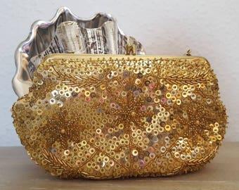 Vintage 1960s Gold Beaded & Sequin Evening Clutch Wedding Bag