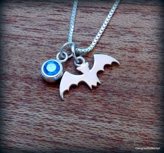 Sterling silver bat necklace, Vampire jewelry, Gothic bat necklace, bird necklace, Halloween jewelry, charm necklace