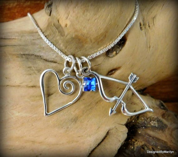 Bow & Arrow necklace, Cupid necklace, Birthstone necklace, Wedding jewelry, Sterling silver jewelry, Heart jewelry, Love necklace