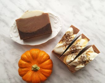 Pumpkin Spice Hand & Body Soap with Fresh Ground Coffee, Vegan Cold Process