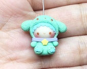 MADE TO ORDER - Cute Boy with Green Dog Costume Necklace