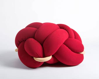 Medium knot Floor Cushion in Red, Knot Floor Pillow pouf, Modern pouf, cushion, pouf ottoman, Meditation Pillow,