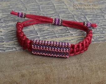 Christmasinjuly Satin string women bracelet Ethnic bracelets Purple pink Organic jewelry Beaded bracelets Tribal Men bracelet  Leather natur