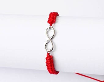 Christmasinjuly Infinity red bracelet rope twine basketwork cord best frend Unisex Bracelets Gift Anniversary Birthday Gift long distance Ti