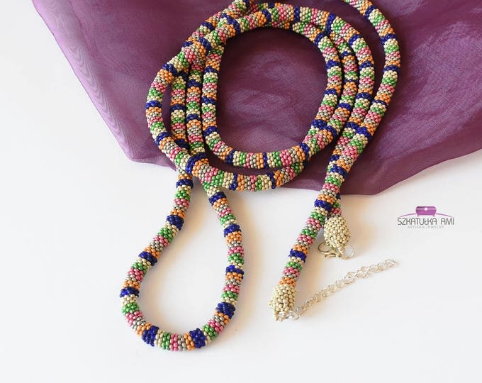 Indian necklace, tie women, color necklace, very long necklace, lariat necklace, crochet necklace, Layering Necklace, beaded necklace, boho