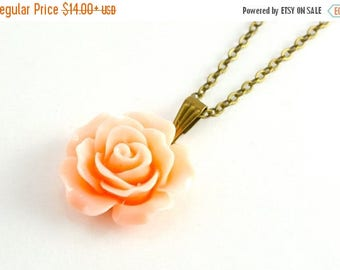 25% OFF SALE Peach Rose Necklace, Custom Initial Necklace, Flower Pendant, Wedding Floral Jewelery, Garden Wedding Jewelry