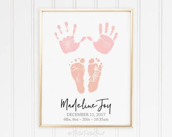 Peach Pink Baby Girl Nursery Art, Baby Handprint & Footprint Birth Announcement Wall Art, New Infant Name Gift, 8x10 in UNFRAMED