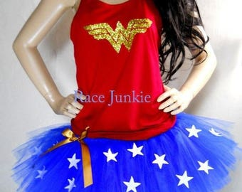 Christmas in July Sale WW Tutu and Tank Set. Halloween costume, cosplay, running tutu