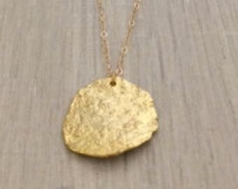 Gold Coin Necklace, Hammered Disc Necklace, Gold Necklace, Layer Necklace