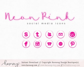 Neon Pink Social Media Icons, Clip Art, Downloadable Clip Art, Social Media Icons, Pink Social Media, Neon Icons, Web Buttons