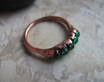 Green Agate and Copper Electroformed Ring, One of a Kind (OOAK), Size 6 US Toniraecreations