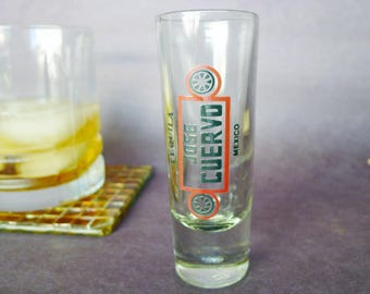 CUERVO Shot Glass, Free Shipping, Vintage Shot Glass, Tequila Measure, Jose Cuervo, Mexico Collectible, Tequila Lover Gift, Tequila Shot