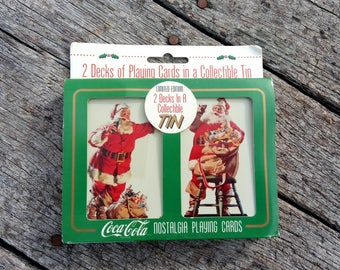 Vintage Coca Cola Santa Cards New In Package 1995 Nostalgia Playing Cards Limited Edition 2 Decks in a Collectible Tin