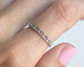 Thin Lace Ring, Delicate Wedding Band, Delicate Wedding Ring, Filigree Ring, White Gold Ring, Dainty Stacking Gold Ring, White Gold Band