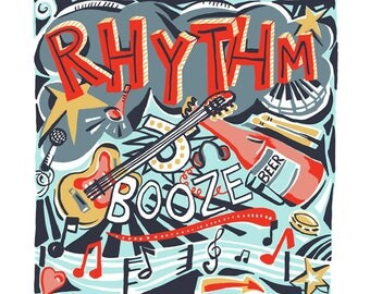Rhythm and booze greeting card by Kate Cooke