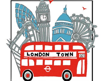 London Town greeting card by Tracy Evans