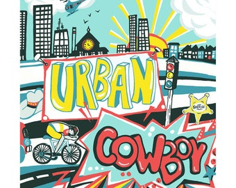 Urban Cowboy greeting card by Kate Cooke