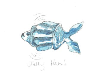 Jelly Fish 2 - Original drawing by Tracy Evans for Port and Lemon