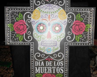 Large Day Of The Dead Metal Cross That Lights Up