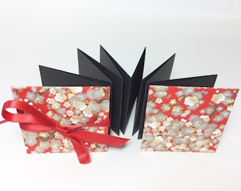 Mini accordion photo album - square brag book - red Japanese flower pattern black pages