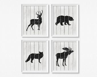 Rustic Woodland Nursery Art Prints - Set Of Four - Nursery Decor - Baby Shower Gift - Woodland Animals - Shipped Prints - Neutral
