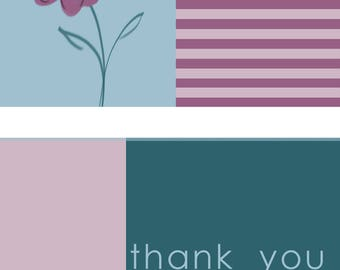 Teal and Purple Flower Thank You Card