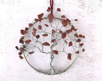 Red Suncatchers, Red Jasper Gems, Gemstone Suncatcher, Window Decor, Gifts for Her, Gifts for Mom, Crystal Suncatcher, Wire Wrapped Tree
