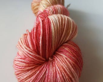 TO order - skein Merino superwash wool - silk Fingering / Sock hand - dyed sand pink color