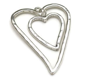 Large Double HeartPendant Focal Bead - Silver Plated - Qty. 1
