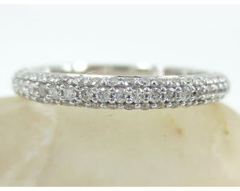 2.5mm Three Row Micro Pave Diamond dome Eternity Band - 18K Gold - Wedding Band