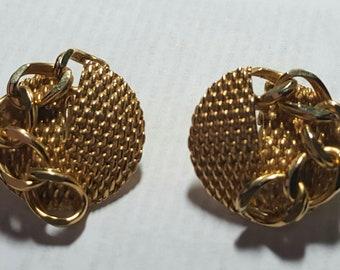 Vintage Hobe Gold Clip On Earrings signed