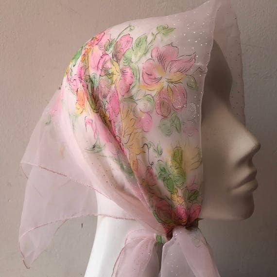 1950s scarf floral blush pink long sheer nylon scarf rose spotted flora fauna 50s pin up square screen printed