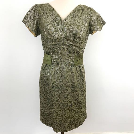 Vintage dress 1950s wiggle khaki green gold textured brocade satin fitted UK 10 evening dress vintage bridesmaid wedding 1960s Jackie O 50s