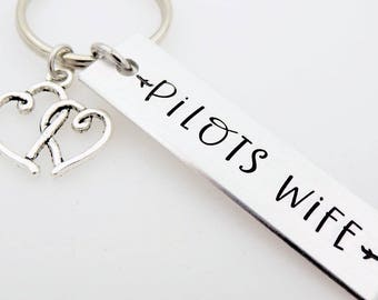 Pilot's Wife, Handstamped Keychain, Flight School, Pilot's Gift, Flight Training, Airline pilot, Air Force, Airman Wife Gift, Military pilot
