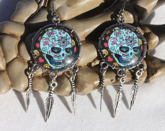 Halloween Day of the Dead Sugar Skull Dangle Drop Earrings Ant. Silver SS5  /1pair